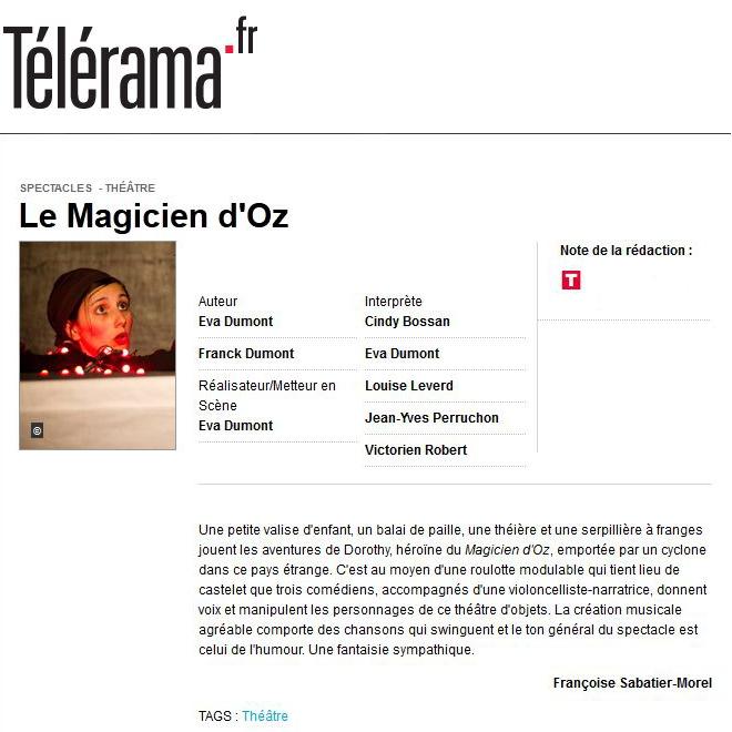 Cie Waverley : Le Magicien D'Oz - critique Telerama